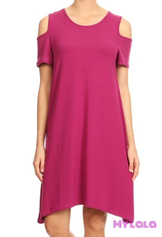 1 Dress - Magenta Cold Shoulder Os (3-12)