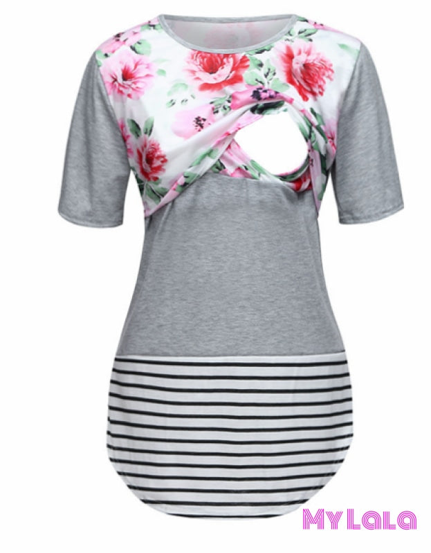 1 Floral Breastfeeding Top (Grey)