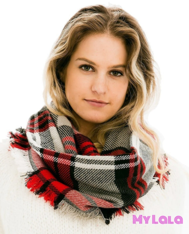 1 Ftzwisf242 Plaid Infinity Scarf (Red/black)