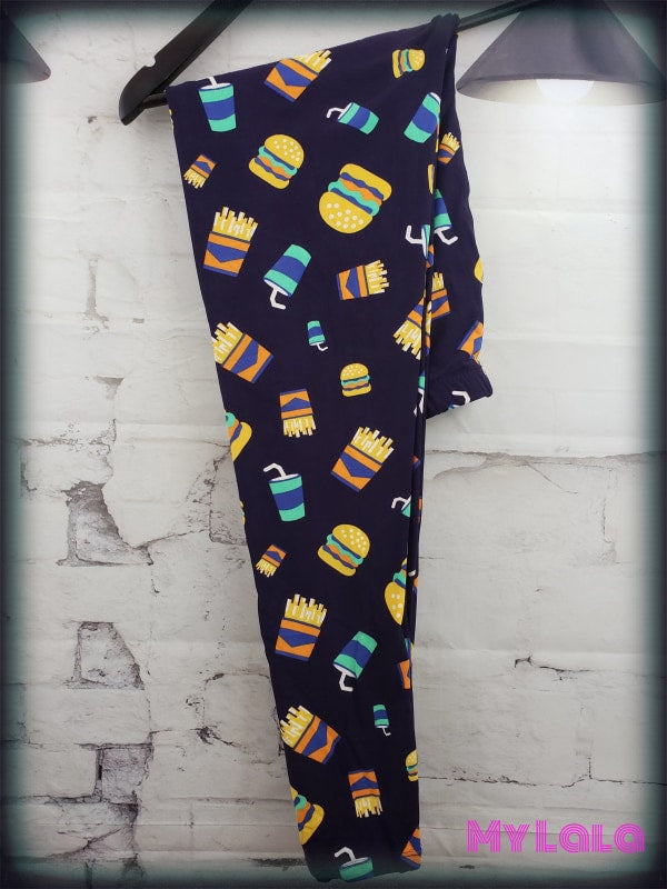 Curvy Burgers & Fries - My Lala Leggings, soft leggings, buttery soft leggings, one size leggings