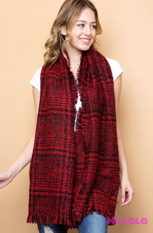 1 Gs574 Glen Plaid Knit Scarf (Red)