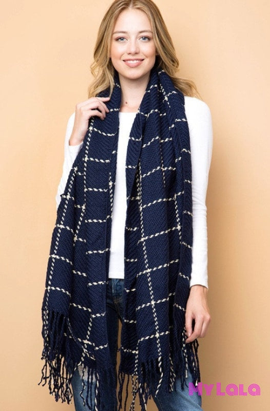1 Gs578 Saachi Grid Knit Scarf (Navy)