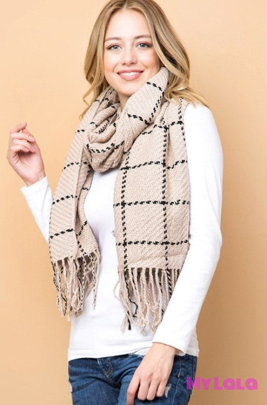 1 Gs578 Saachi Grid Knit Scarf (Taupe)