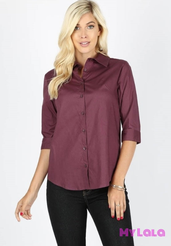 1 Gt045 Classic Cotton 3/4 Sleeve (Eggplant)