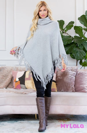 1 Hdf3014 Turtleneck Fringe Poncho (Gray)