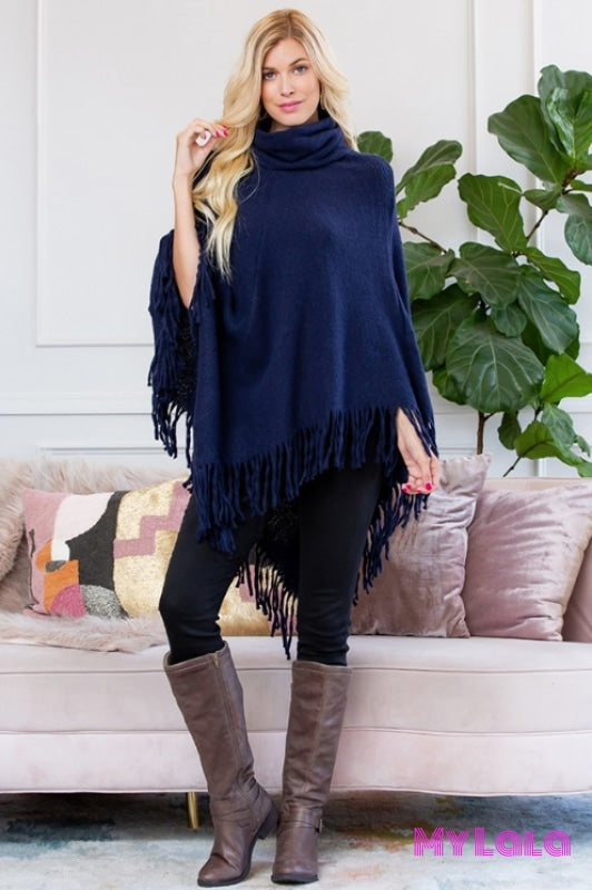 1 Hdf3014 Turtleneck Fringe Poncho (Navy)