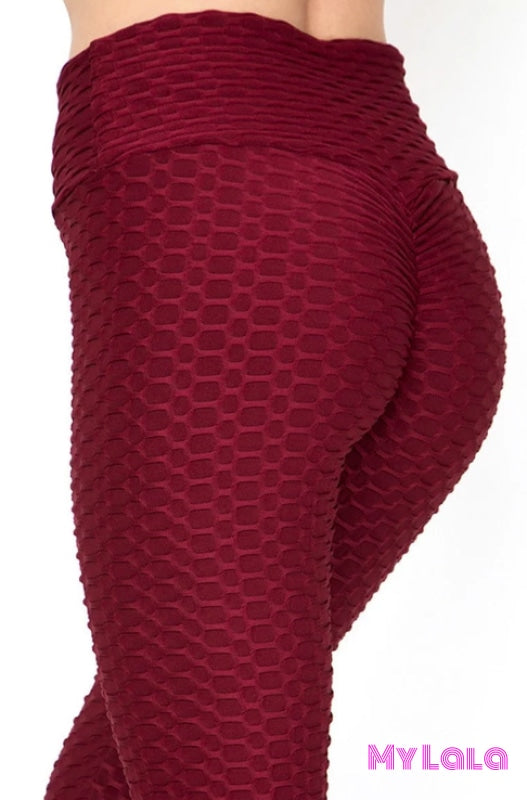 Petite - Honeycomb Textured Booty Lift (Burgundy) - My Lala Leggings, soft leggings, buttery soft leggings, one size leggings