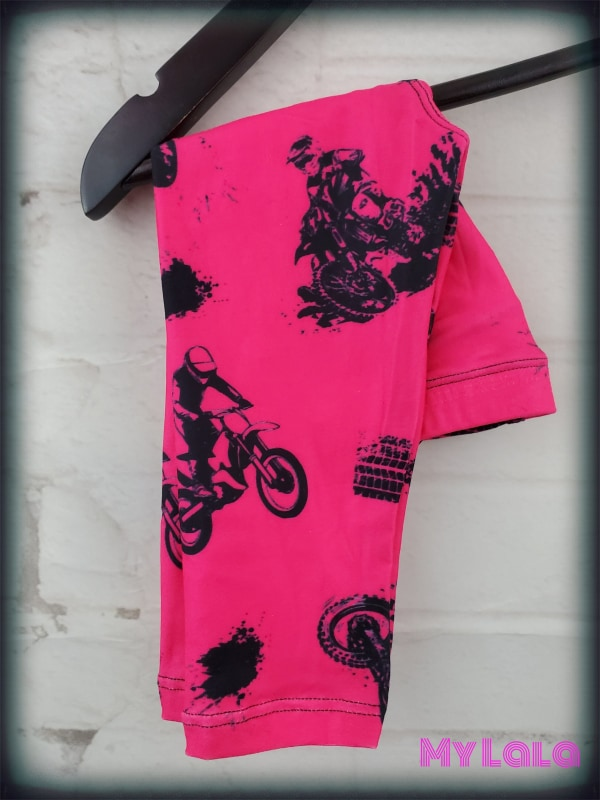 Hot Pink Dirt Bike Baby (Premium) - My Lala Leggings, soft leggings, buttery soft leggings, one size leggings