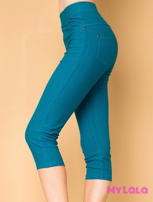 ONE SIZE JEGGINGS - Capri 3-12 (Teal) - My Lala Leggings, soft leggings, buttery soft leggings, one size leggings