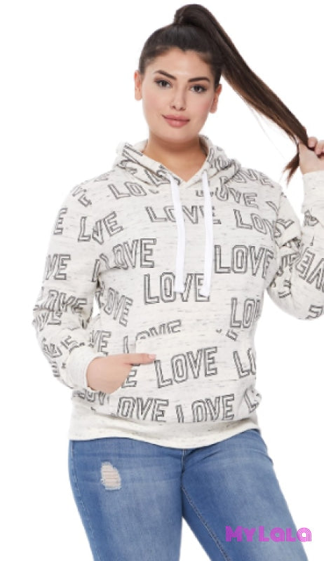 1 Ju608Bs Curvy Allover Love Sweatshirt (Marled Oatmeal)