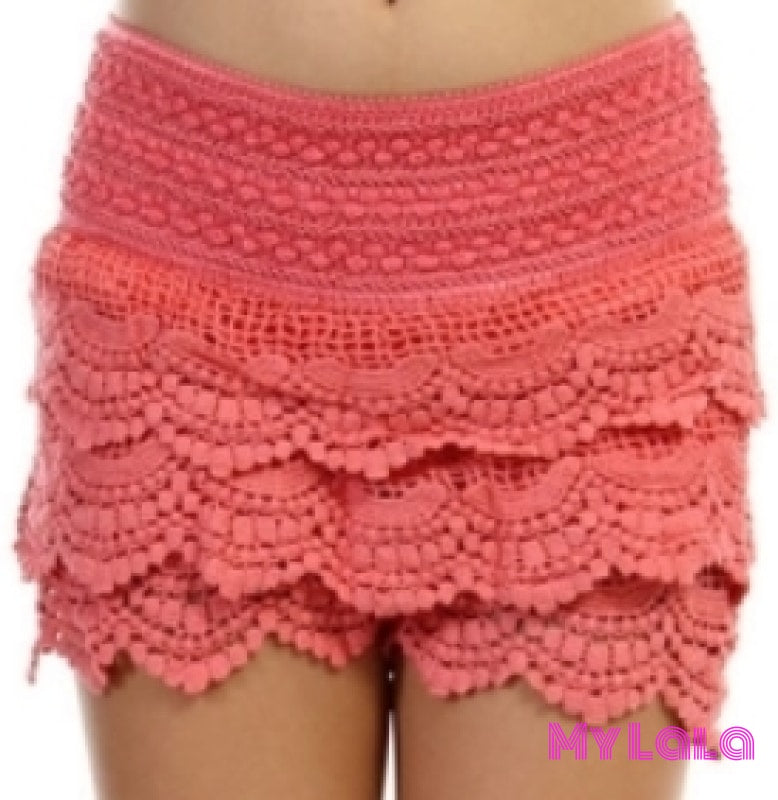 1 Kids Crochet Lace Shorts (Coral)