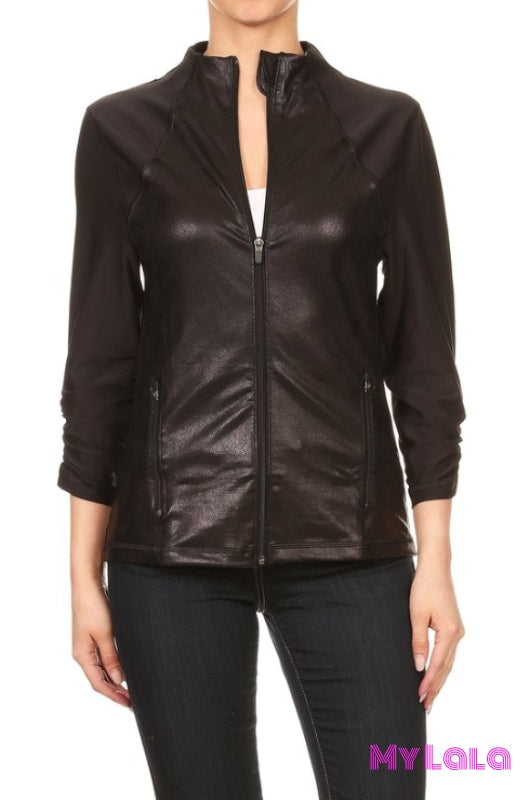1 Kl04 Faux Leather Jacket