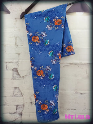 Extra Curvy Antique Floral Blue (20-26) - My Lala Leggings, soft leggings, buttery soft leggings, one size leggings