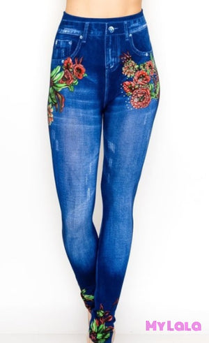 ONE SIZE JEGGINGS - Leafy Flower (3-12) - My Lala Leggings, soft leggings, buttery soft leggings, one size leggings