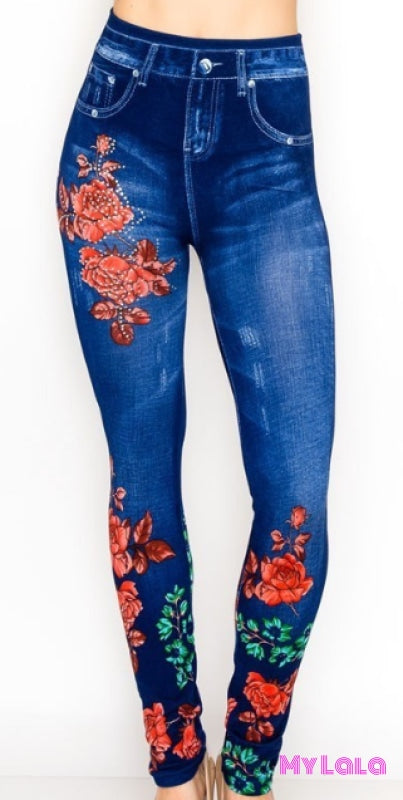 ONE SIZE JEGGINGS - Jeweled Roses (3-12) - My Lala Leggings, soft leggings, buttery soft leggings, one size leggings