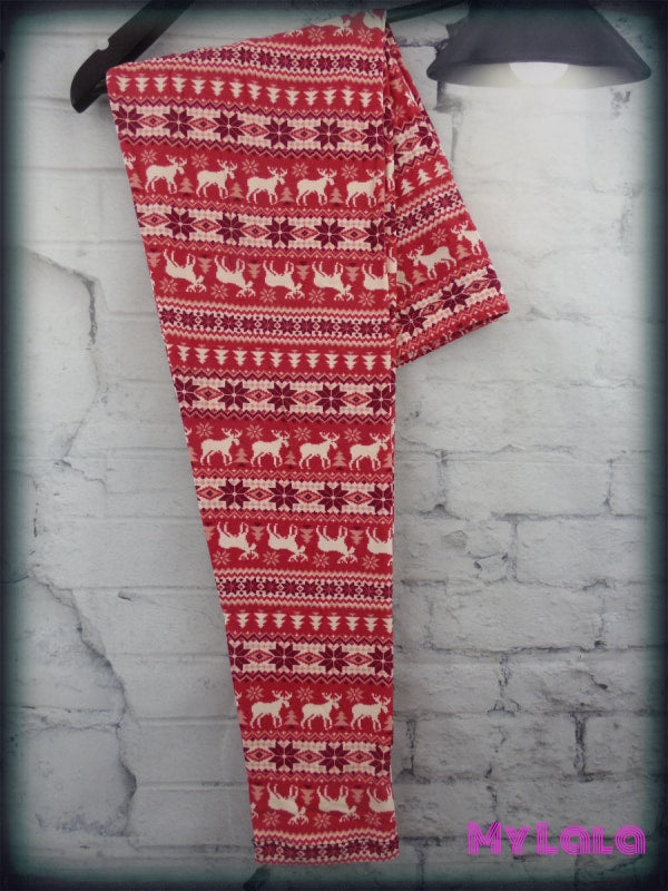Curvy Red Winter - My Lala Leggings, soft leggings, buttery soft leggings, one size leggings