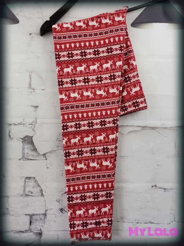 Extra Curvy Red Winter (20-26) - My Lala Leggings, soft leggings, buttery soft leggings, one size leggings