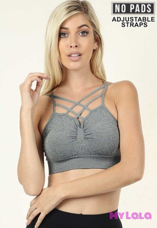 Double Cross Pinch Bralette (H Grey) - My Lala Leggings, soft leggings, buttery soft leggings, one size leggings