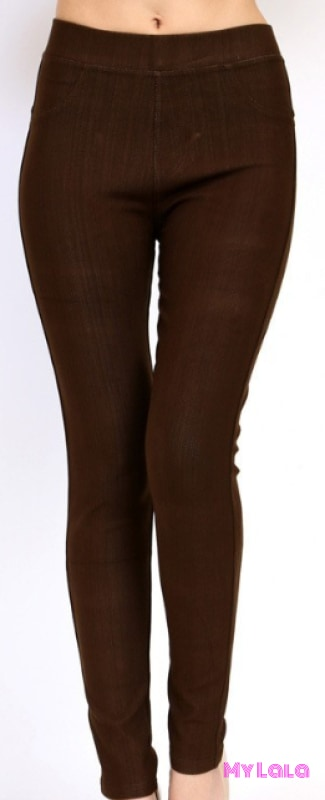 ONE SIZE JEGGINGS -  Size 3-12 (Brown) - My Lala Leggings, soft leggings, buttery soft leggings, one size leggings
