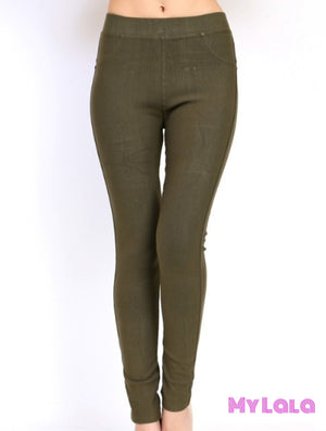 ONE SIZE JEGGINGS -  Size 3-12 (Olive) - My Lala Leggings, soft leggings, buttery soft leggings, one size leggings
