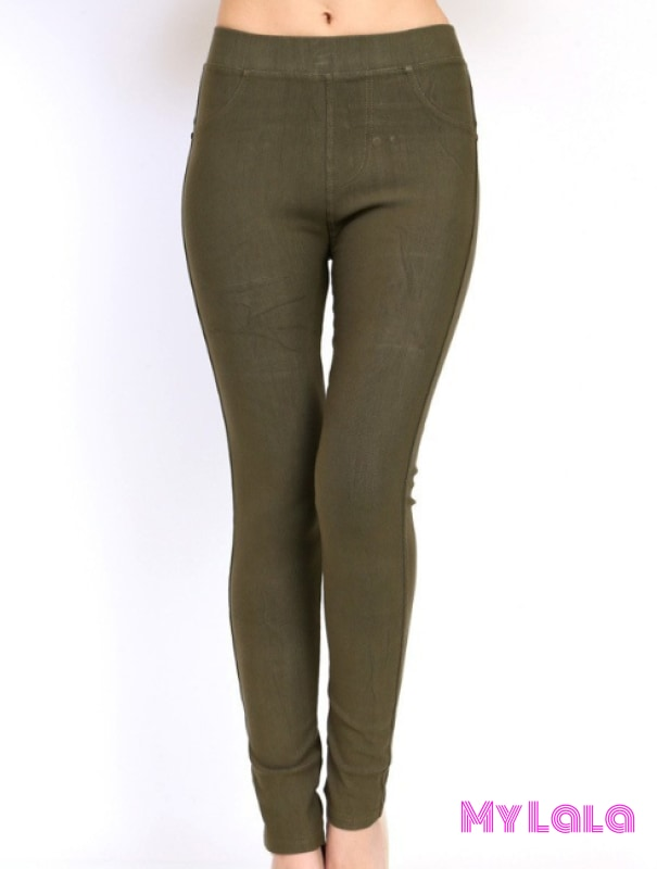 1 One Size Jeggings - Size 3-12 (Olive)