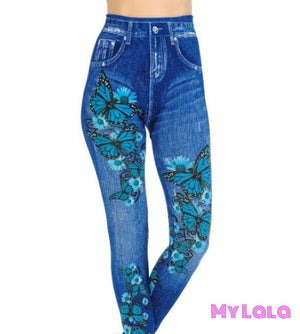 1 One Size Jeggings - Blue Butterfly (3-12)