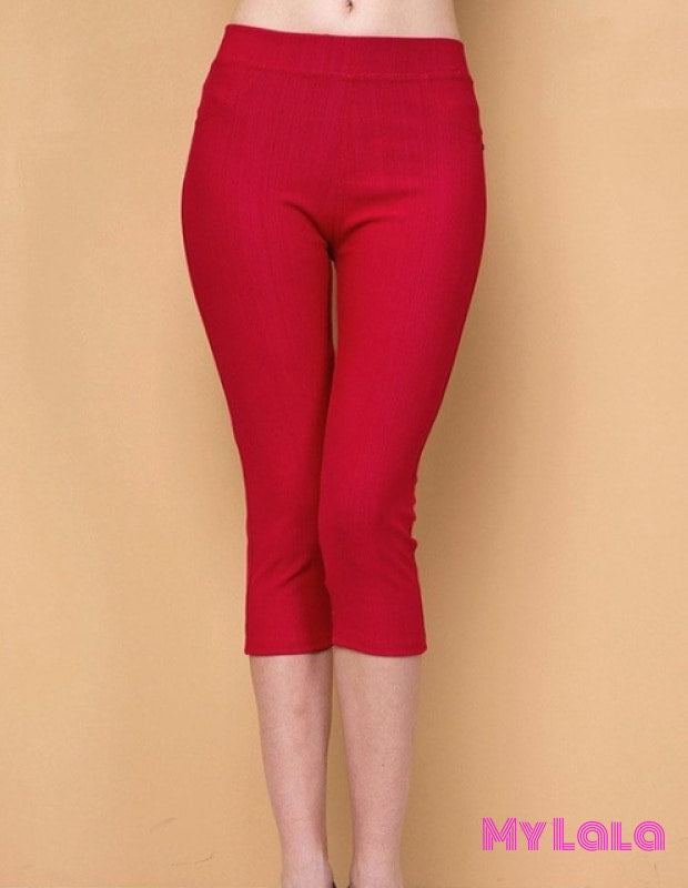 ONE SIZE JEGGINGS - Capri 3-12 (Red) - My Lala Leggings, soft leggings, buttery soft leggings, one size leggings