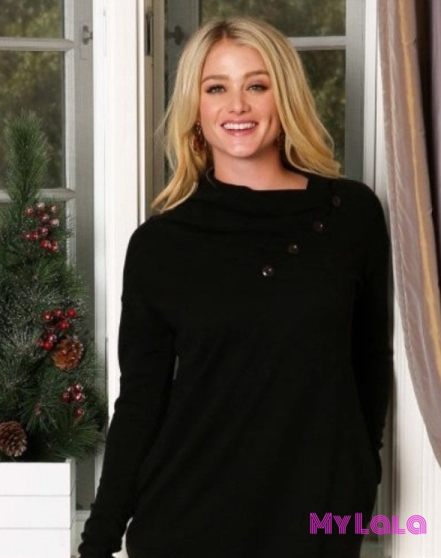 1 P1026 Curvy Cowl Neck Sweater (Black)