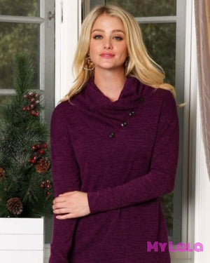 1 P1026 Curvy Cowl Neck Sweater (Eggplant)