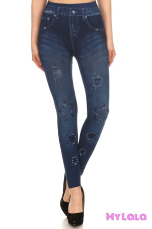 1 P2170-77 One Size Jeggings - Faded Stars (3-12)