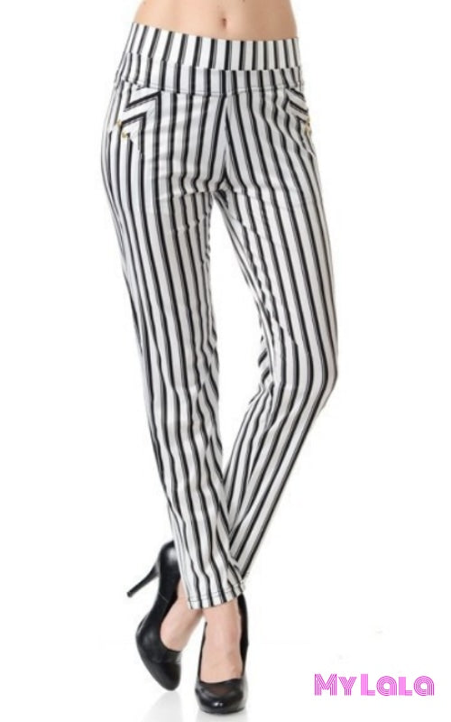 1 P9536F Jeggings Pocketed White Black & Silver