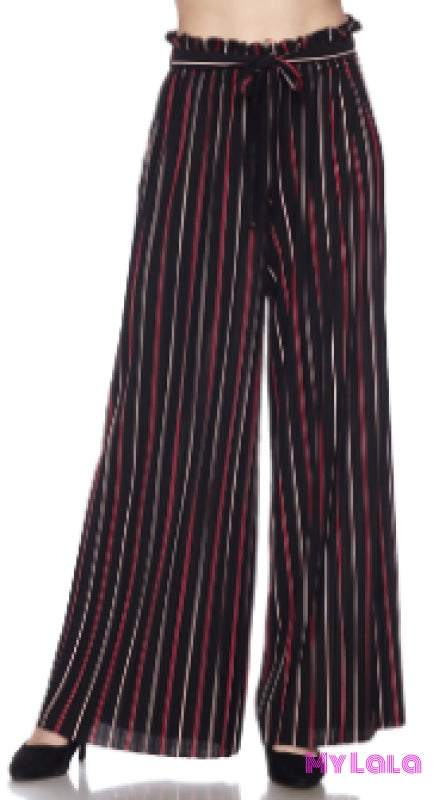 Pleated Belted Wide Leg Pants OS (Black/Red) - My Lala Leggings, soft leggings, buttery soft leggings, one size leggings