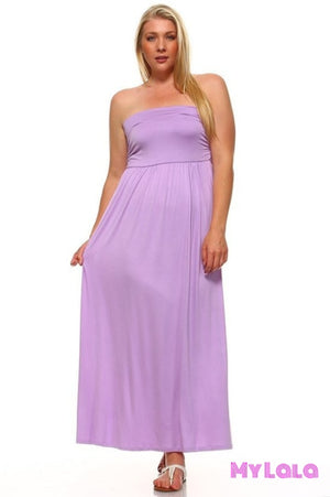Dress Curvy San Antonio Strapless Maxi (Lilac) - My Lala Leggings, soft leggings, buttery soft leggings, one size leggings