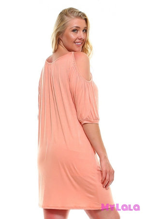 1 Pd 3113Pe Dress Curvy Ocean City Open Sleeve (Peach)
