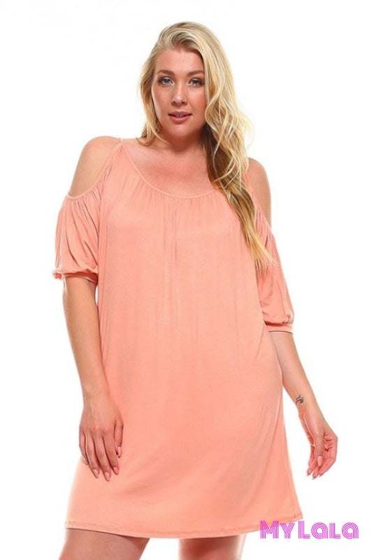 Dress Curvy Ocean City Open Sleeve (Peach) - My Lala Leggings, soft leggings, buttery soft leggings, one size leggings
