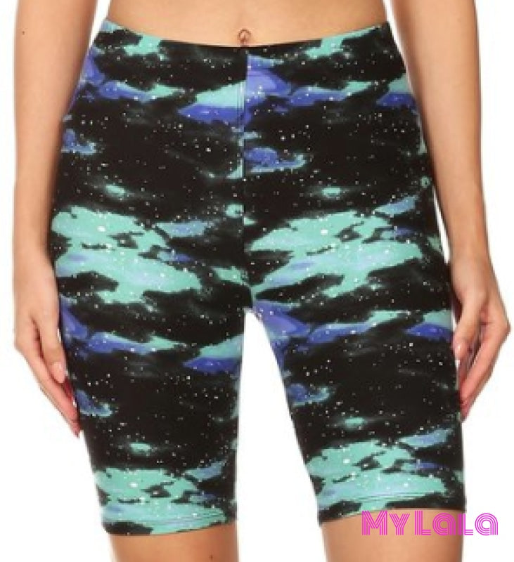 1 R554 Curvy Mint Galaxy Bike Shorts