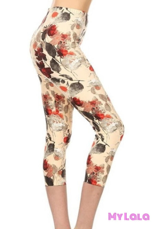 Capri - Curvy Creamy Fall - My Lala Leggings, soft leggings, buttery soft leggings, one size leggings