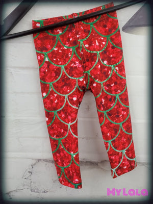 Red & Green Glitter Mermaid Baby (Premium) - My Lala Leggings, soft leggings, buttery soft leggings, one size leggings