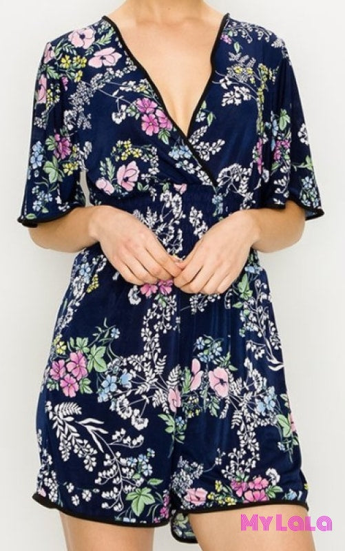 1 Romper Navy Flower Pop (2-12)
