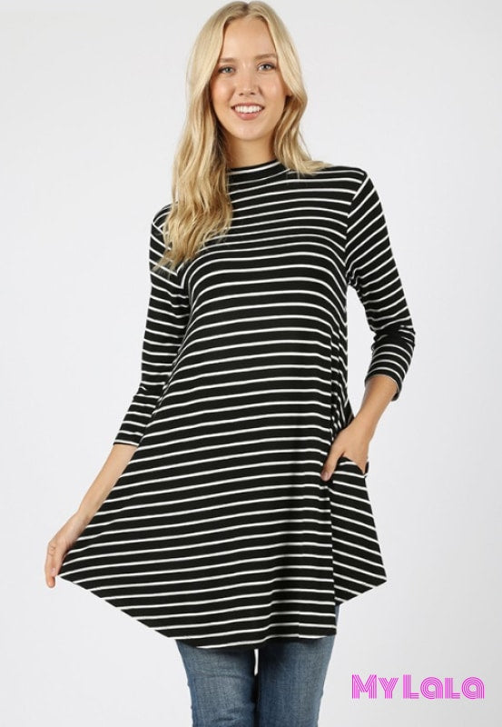 1 Rt 1728 Sally Striped Mock Neck