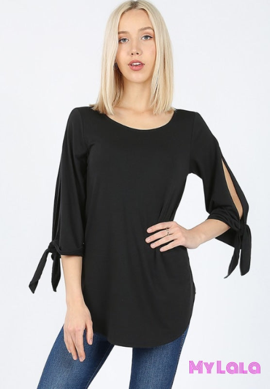 1 Rt 2034 Curvy Split Sleeve Boat Neck (Black)