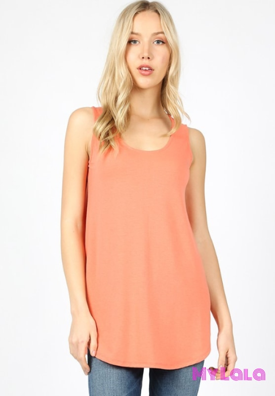 1 Rt 2100 Rachel Relaxed Tunic (Deep Coral)
