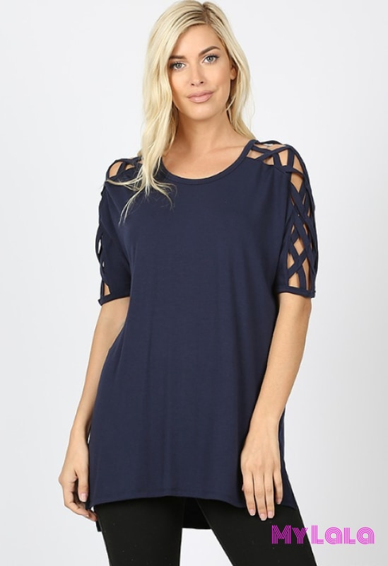 1 Rt1781 Curvy Criss-Cross Shoulder (Navy)
