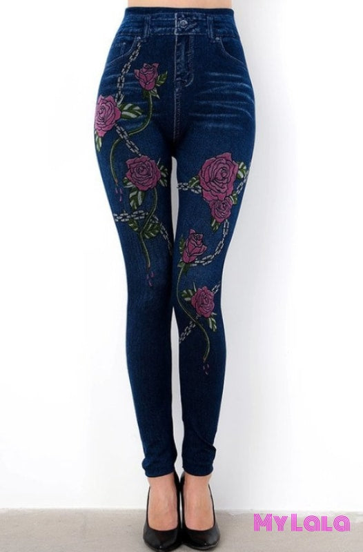 1 S136 One Size Jeggings - Rose Chain (3-12)