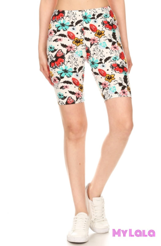 1 S745 Curvy Floral Painting Shorts