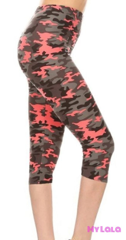 Capri - Curvy Blood Orange Camo - My Lala Leggings, soft leggings, buttery soft leggings, one size leggings