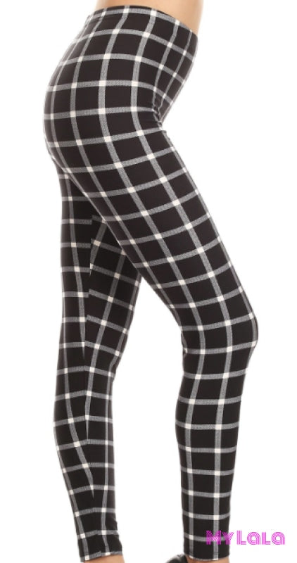 Extra Curvy Black Checker (24-32) - My Lala Leggings, soft leggings, buttery soft leggings, one size leggings