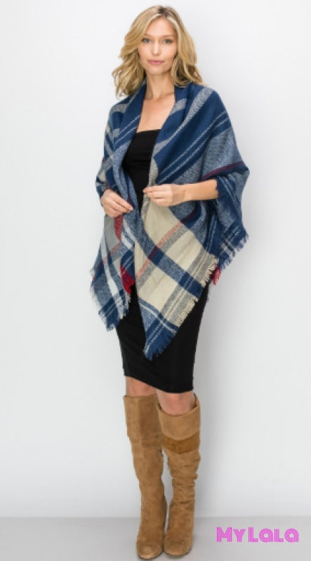 1 scf6017 Color Lined Blanket Scarf (Blue) - My Lala Leggings, soft leggings, buttery soft leggings, one size leggings