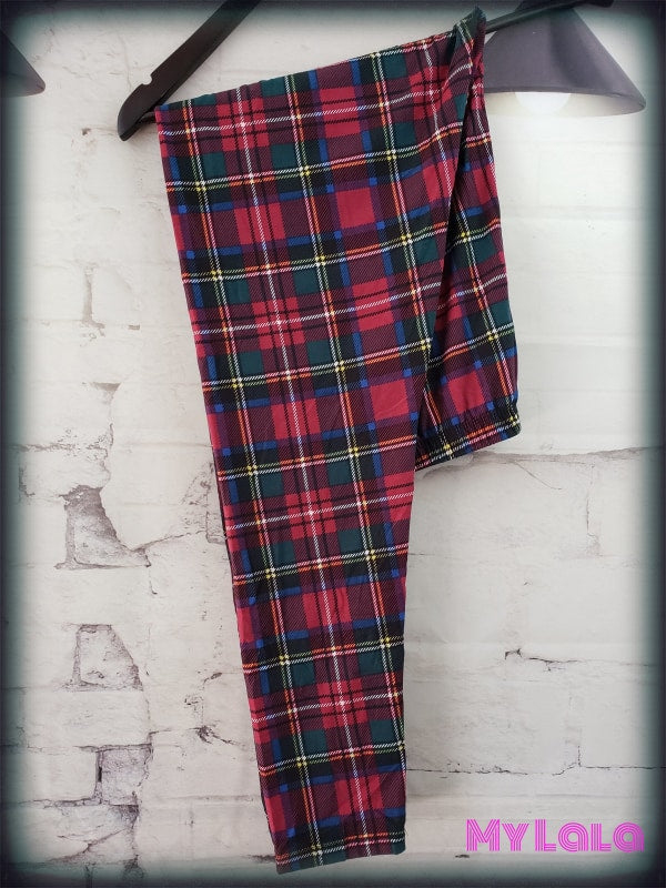 7 Extra Curvy Red Plaid (24-32) - My Lala Leggings, soft leggings, buttery soft leggings, one size leggings