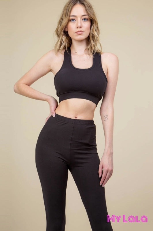 1 Solid Black Bralette & Leggings Set
